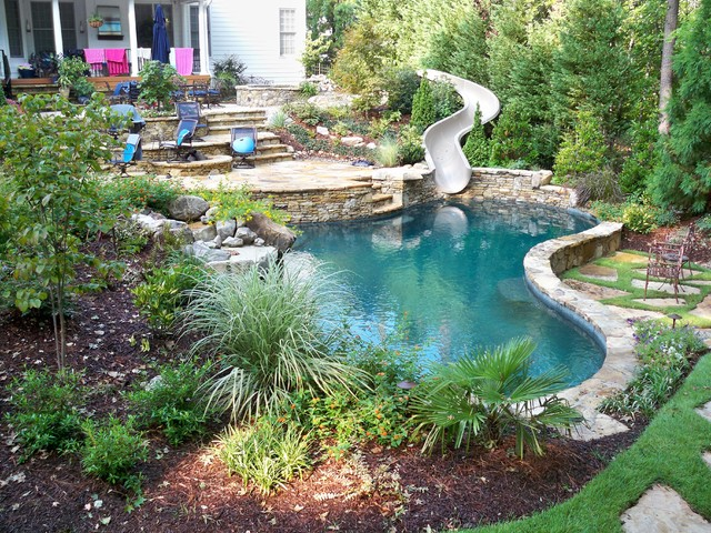 Freeform Natural Pool With 27 39 Slide