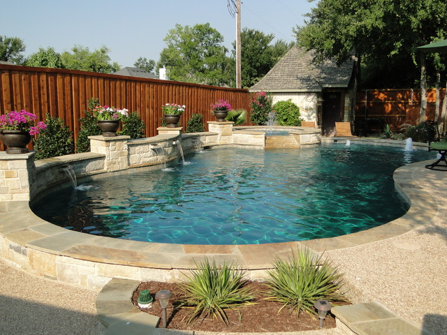 Freeform Pool Arbor And Built In Grill With Limestone Bar
