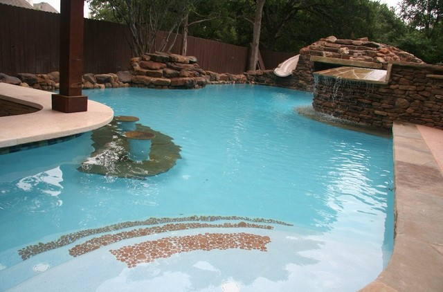 Freeform Pool Waterfall Slide Bar Contemporary