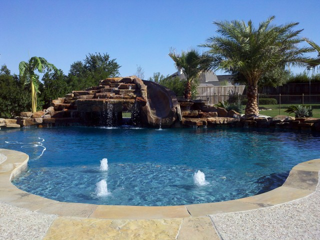Freeform Pool With Cave Slid Waterfall Traditional