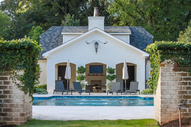 French Chateau In Charlotte Nc Mediterranean Pool