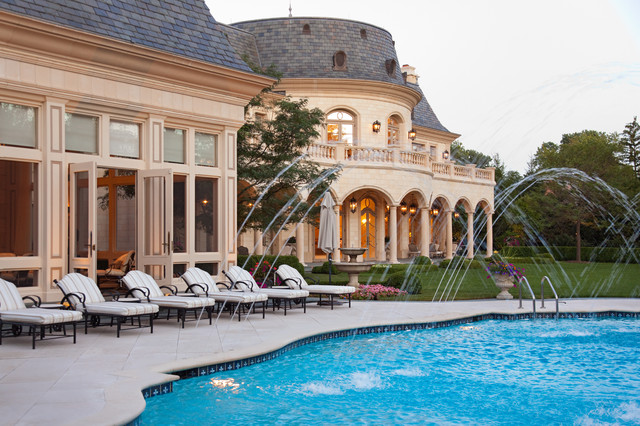 French chateau with in ground swimming pool and water - University of chicago swimming pool ...