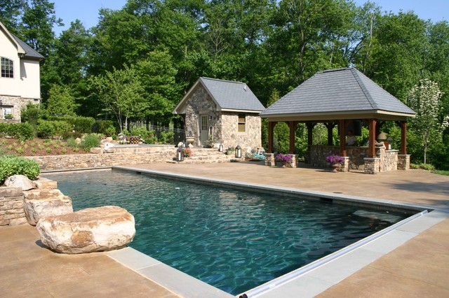 French Country Home Landscape - Traditional - Pool ... on entry door designs for home, water fountain designs for home, a view designs for home, wheelchair ramp designs for home, deck designs for home, english pub designs for home, main gate designs for home, bar designs for home,
