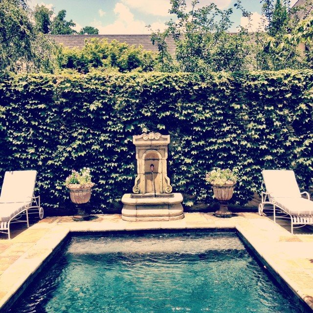 Rustic Pool House Designs: French Country Rustic Fountain And Pool