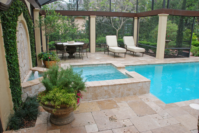 French country style garden traditional pool other for Country pool ideas