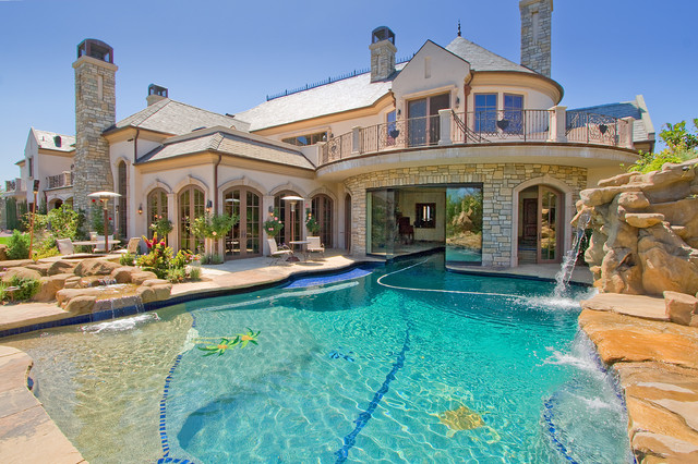 Pool Fountain Mediterranean Custom Shaped Idea In Los Angeles