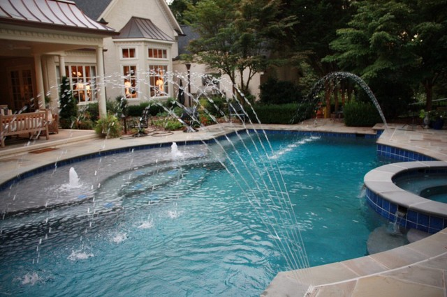 French Gray With Blue Quartz Traditional Pool