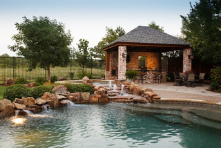 Frisco, TX. New Orleans Style Outdoor Kitchen & Cabana - Rustic - Pool