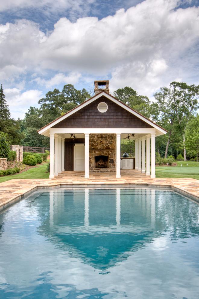 Pool house - country rectangular pool house idea in Atlanta