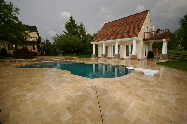 From Travertine to Tranquility traditional-pool