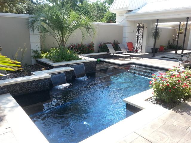 front yard pool modern swimming pool hot tub
