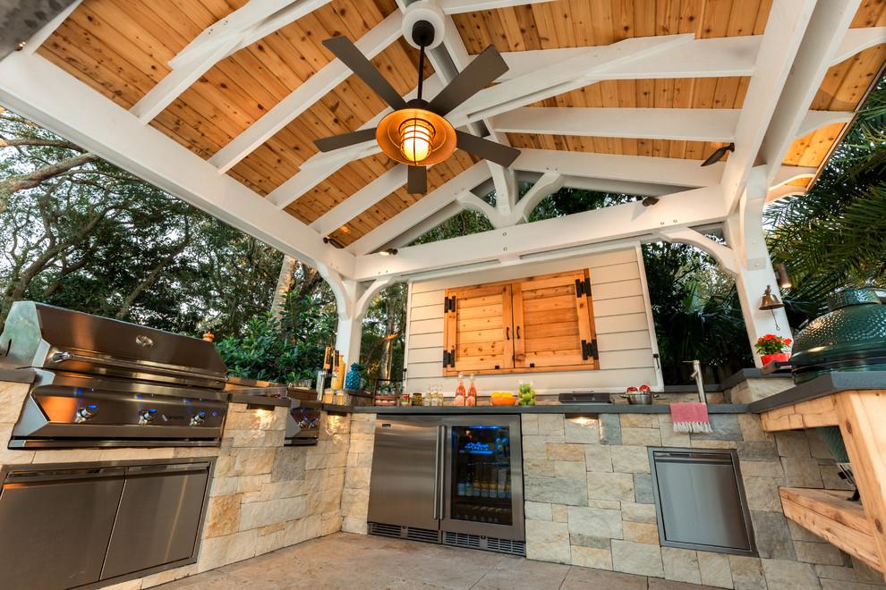 Gabled Roof Cedar Pergola Outdoor Kitchen Craftsman Pool By Pratt Guys