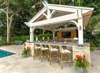 Gabled Roof Cedar Pergola Outdoor Kitchen American Craftsman Pools Jacksonville Von Pratt Guys Houzz