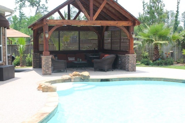 Gazebo By The Pool Traditional Pool Houston By