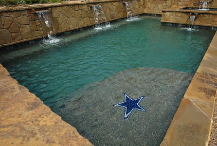 Geometric Contemporary Pool Dallas Cowboys Logo In Tile