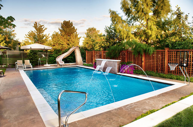 Geometric outdoor inground swimming pools traditional for Backyard inground pool ideas