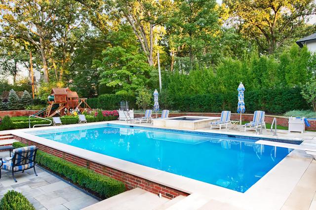 Geometric outdoor inground swimming pools traditional for Traditional swimming pool designs