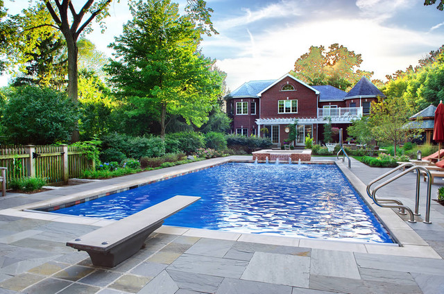 Geometric Outdoor Inground Swimming Pools - Traditional ...