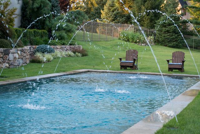 Geometric pool in lawn design modern pool new york for Pool design inc