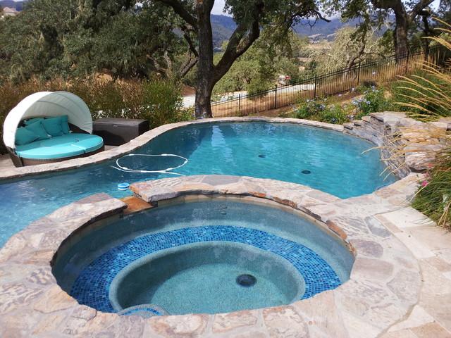 Gilroy hillside pool spa waterfall for Pool design hillside