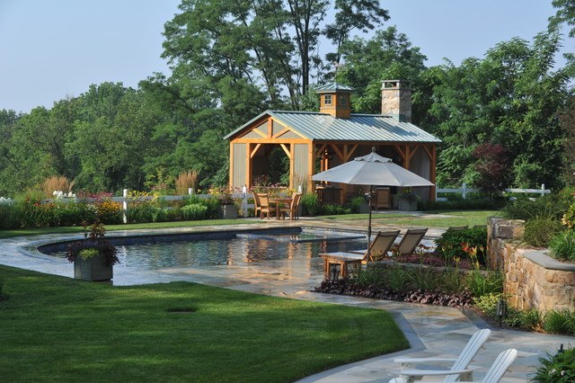 Gladstone Nj Farmhouse Pool New York By Edward Clark Landscape Architect Llc