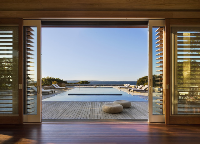 Glass Sliding Doors Beach Style Pool