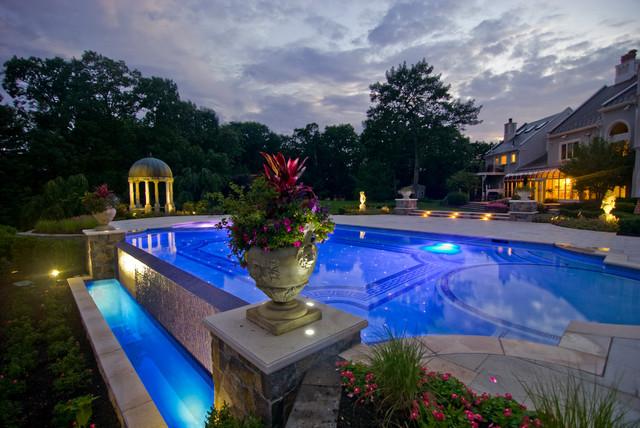 Glass Tile Infinity Edge Pool Design Traditional