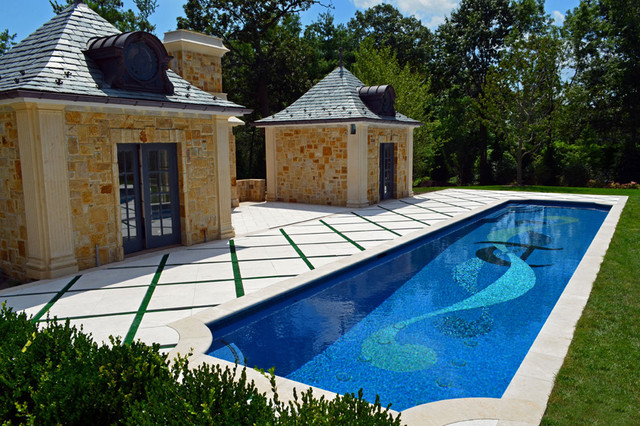 Glass Tile Mosaic Swimming Pool - Traditional - Pool - New York