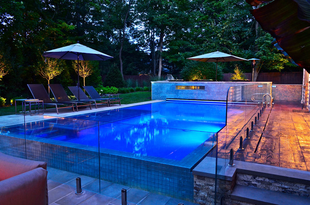 Glass tile pool and patio design modern pool new for Pool and patio designs