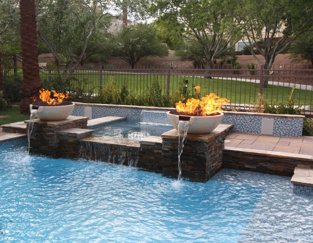 Glass Tile Projects The All Tile Spa Wet Deck Waterline And Raised Bond Beam Modern Pool