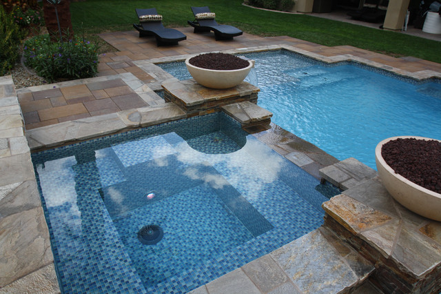 Glass tile projects- The all-tile spa, wet deck, waterline and ...