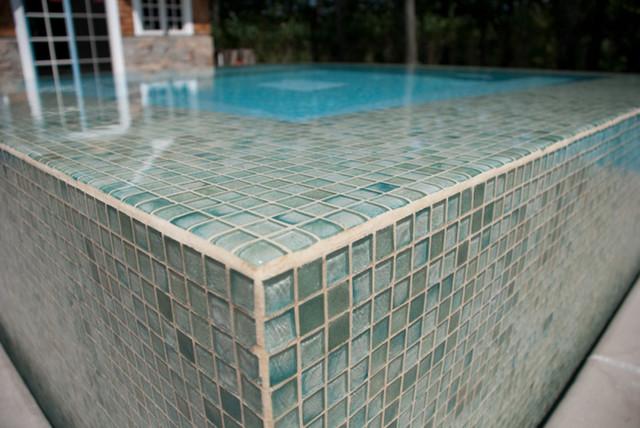 Glass tile spa design nj contemporary pool new york by cipriano landscape design - Swimming pool glass tile design ...