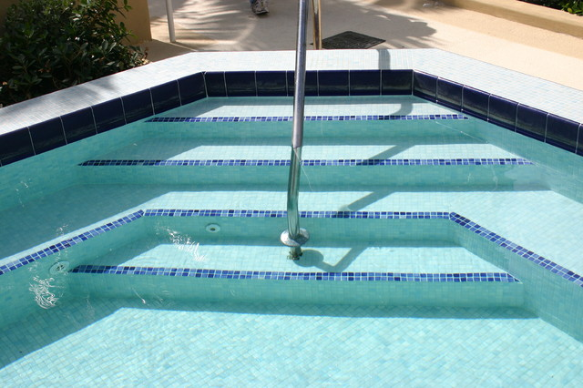 Glass Tile Spa Steps Traditional Pool Miami By Foreverpools