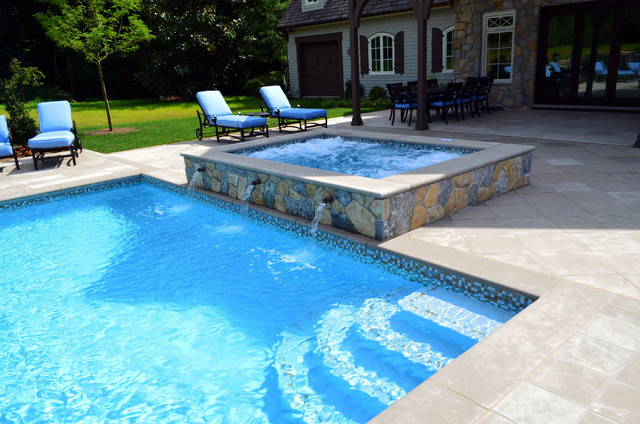 Glass Tile Swimming Pool Waterline Traditional