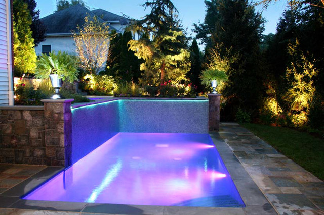 Glass Tile Water Wall Feature Nj Modern Pool New