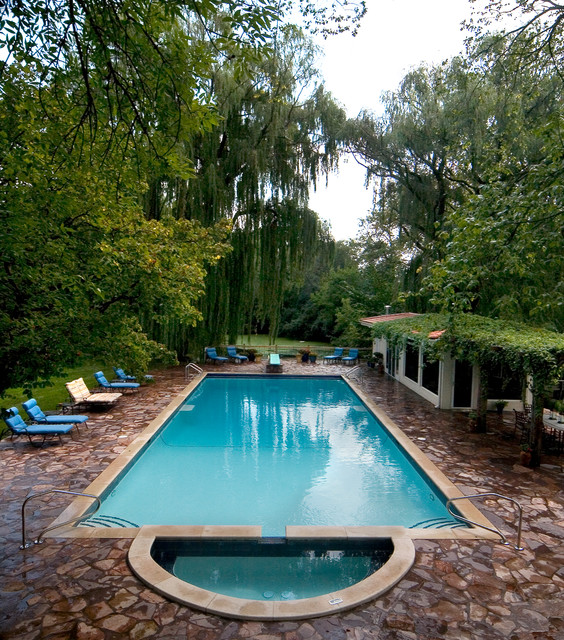 glenview mediteranian pool and spa traditional pool - Rectangle Pool With Spa