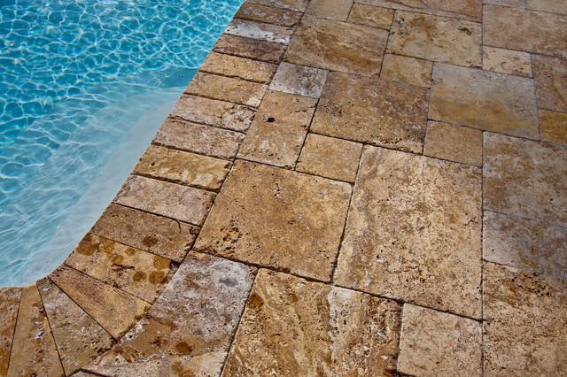 Gold Travertine Pavers - Mediterranean - Pool - tampa - by ...