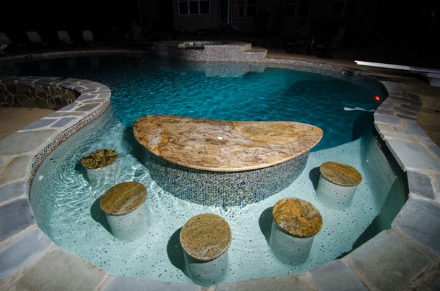Golden Sparkle Granite Pool Bar Traditional Pool Dc
