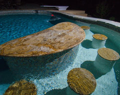Golden Sparkle Granite Pool Bar traditional-pool