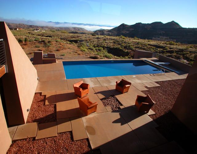 Pool - contemporary concrete and rectangular pool idea in Denver