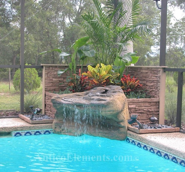 Great Stone Accent On Pool mediterranean-pool