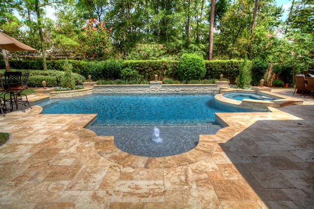 Houzz bathroom travertine - Grecian Roman Style Pool 1 Pool Houston By Absolutely Outdoors