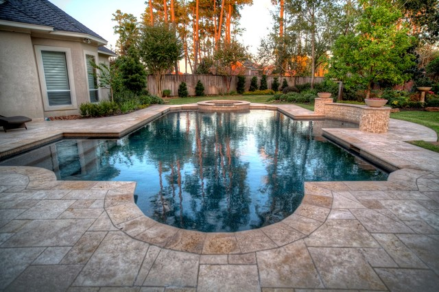 Grecian / Roman Style Pool 2 With Spa   Leh Contemporary Pool