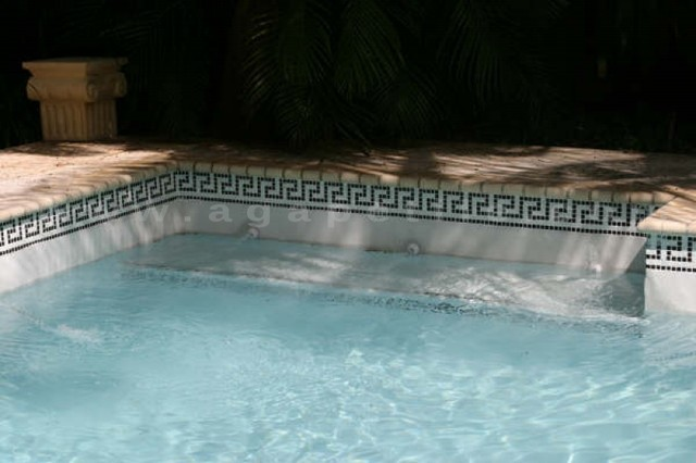 Greek Key Swimming Pool Custom Waterline Traditional