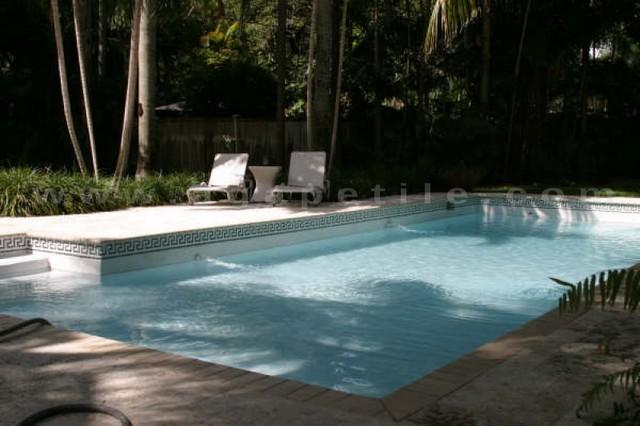 Greek Key Swimming Pool Custom Waterline Traditional Pool Miami By Agape Tile Llc