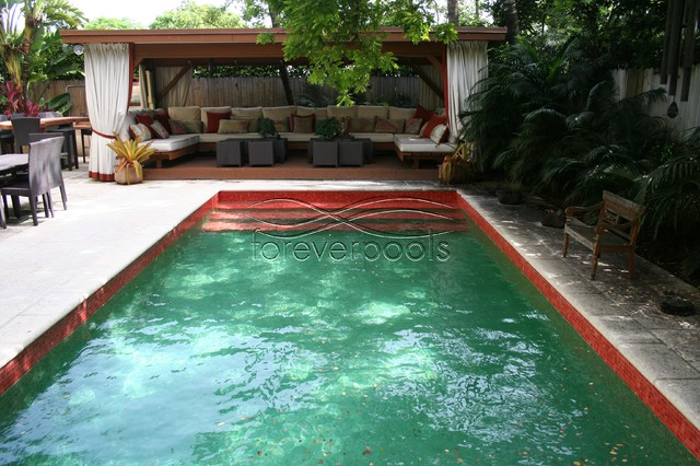 Green Red Glass Tile Pool Asian Pool Miami By Foreverpools