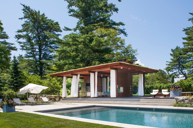 Green roof pool pavilion contemporary pool other for Pool pavilion designs