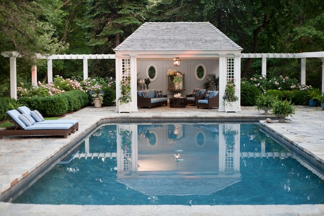 Greenwich pool house Pool house plans with bar
