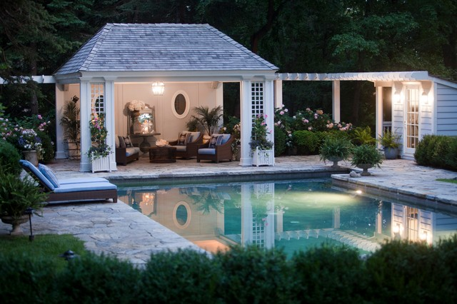 Greenwich Pool House Traditional Swimming And Hot Tub