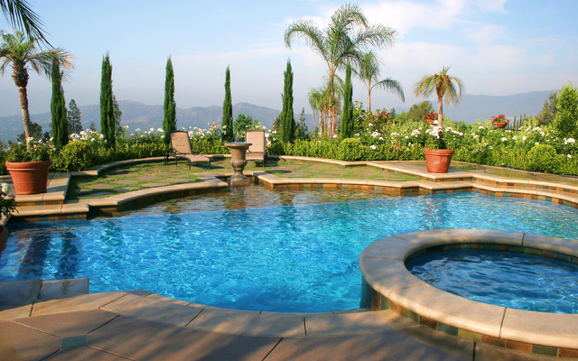 Los Angeles Mediterranean Custom Swimming Pool And Spa Mediterranean Pool Los Angeles By